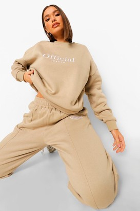 boohoo Official Embroidered Slouch jumper Tracksuit