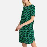 La Redoute Collections Bird Print Shift Dress with V-Back
