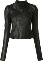 Rick Owens zip fitted jacket - women - Cupro/Lamb Skin/Virgin Wool - 42