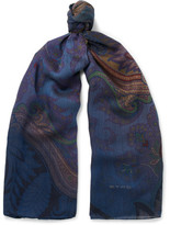 Etro Paisley Wool And Silk-blend Scarf - Blue