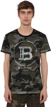 Balmain Tech Mesh Camo Cotton Jersey T-Shirt