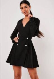 Missguided Black Double Button Pleated Skater Dress