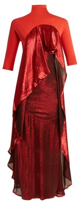 Paula Knorr - Drape Jersey And Silk-blend Lame Dress - Womens - Red Multi