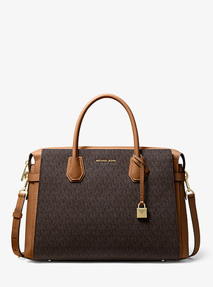 Michael Kors Mercer Large Logo Belted Satchel
