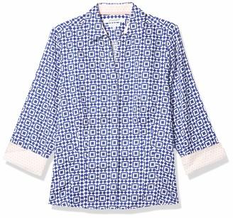 Foxcroft Women's Petite Size 3/4 Sleeve Taylor Pool Tile Shirt