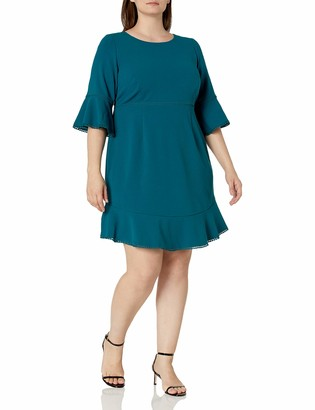 Betsey Johnson Women's Size Scuba Crepe Dress with Bell Sleeves and Trim Detail (Plus) Teal 14W