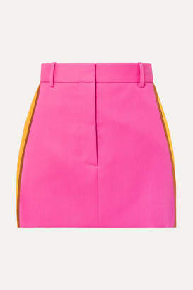 Calvin Klein Striped Wool-twill Mini Skirt - Bright pink