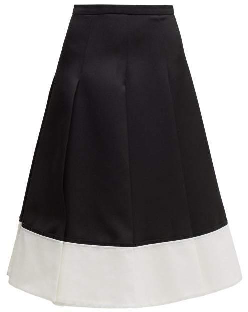 Rochas Contrast-hem Pleated Wool-twill Skirt - Womens - Black White