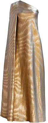 Reem Acra Iridescent Animal-Stripe Asymmetric Gown