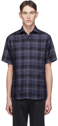 Ermenegildo Zegna Blue Linen Plaid Shirt
