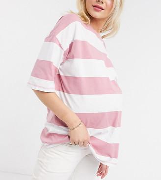 ASOS DESIGN Maternity oversized t-shirt in acid wash stripe