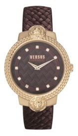 Versus By Versace Women's Mouffetard Burgundy Leather Strap Watch 38mm