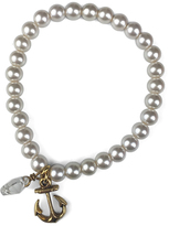 Faux Pearl & Brass Anchor Stretch Bracelet