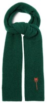 The Elder Statesman Palm Tree-embroidered Cashmere Scarf - Womens - Green Multi