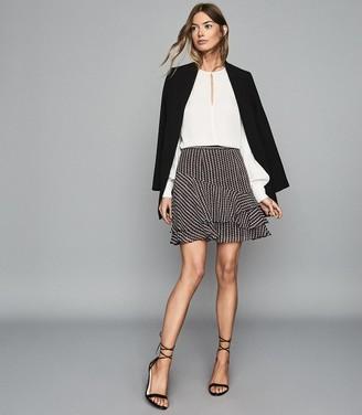 Reiss Lulu - Printed Flippy Skirt in Berry
