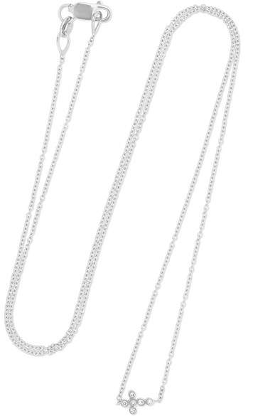 Ileana Makri Mini Cross 18-karat White Gold Diamond Necklace - one size