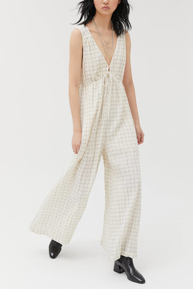 Urban Outfitters Breezy Plunging Wide Leg Jumpsuit