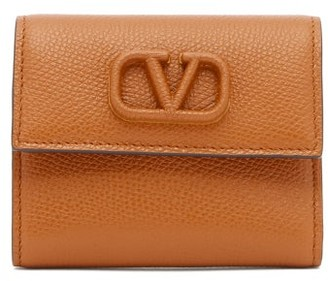 Valentino V-sling Leather Wallet - Womens - Brown