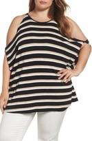 Vince Camuto Plus Size Women's Desert Stripe Cold Shoulder Top