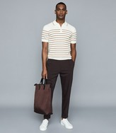 Reiss Peak - Textured Zip Neck Polo Shirt in White/camel