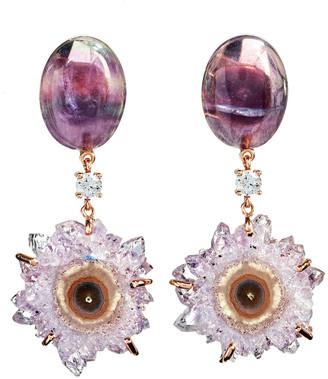 Jan Leslie 18k Bespoke 2-Tier Tribal Luxury Earrings w/ Purple Fluorite, Purple Stalactite & Diamonds