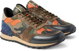 Valentino - Rockrunner Camouflage-print Canvas, Leather And Suede Sneakers