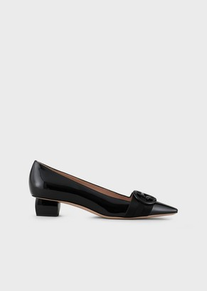 Giorgio Armani Patent-Leather Court Shoes With Logo And Block Kitten Heels