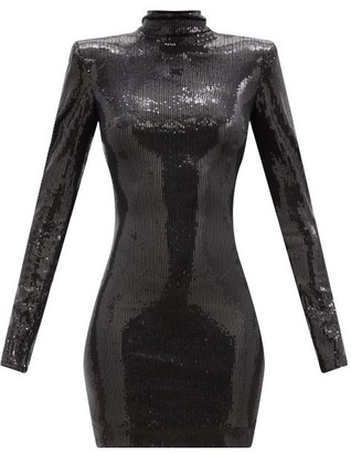 David Koma Open-back High-neck Sequinned Mini Dress - Black