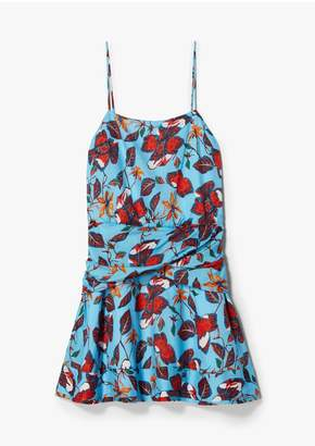 Derek Lam 10 Crosby Indian Floral Flounce Mini Dress With Twist Waist Detail