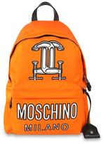 Moschino Logo-Print Tech-Fabric Backpack, Orange
