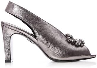 Moda In Pelle Roselita Pewter Metallic Leather