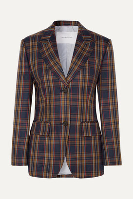 pushBUTTON Paneled Faux Leather And Checked Twill Blazer - Brown