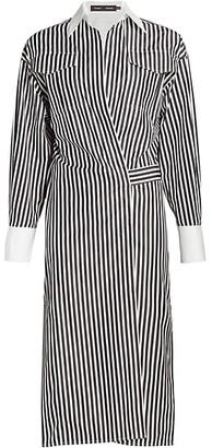 Proenza Schouler Pinstripe Wrapped Shirtdress