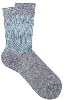 Falke Mexicali Zigzag-lame Ankle Socks - Womens - Blue Multi