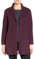 Eileen Fisher Brushed Wool Blend Double Face Notch Collar Coat