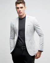 Asos Super Skinny Fashion Blazer In Light Gray