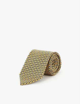 Ermenegildo Zegna Geometric-embroidered silk tie
