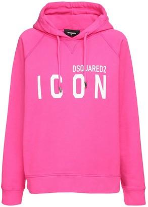 DSQUARED2 Icon Logo Print Cotton Jersey Hoodie