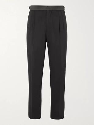 Umit Benan B+ Tapered Satin-Trimmed Virgin Wool-Blend Tuxedo Trousers