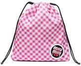 Miu Miu pink club patch gingham pouch
