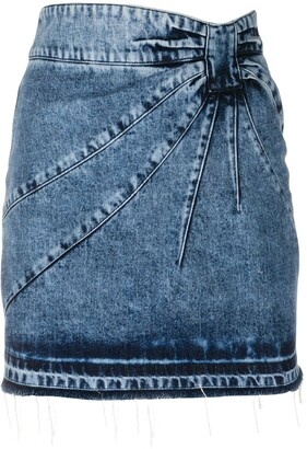 RED Valentino Stonewashed Frayed Edge Fitted Skirt