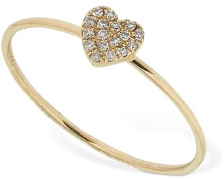 Ef Collection Gold Mini Diamond Heart Stackable Ring