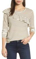 Lucky Brand Stripe Asymmetrical Ruffle Top