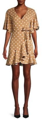 BB Dakota Polka Dot-Print Wrap Dress