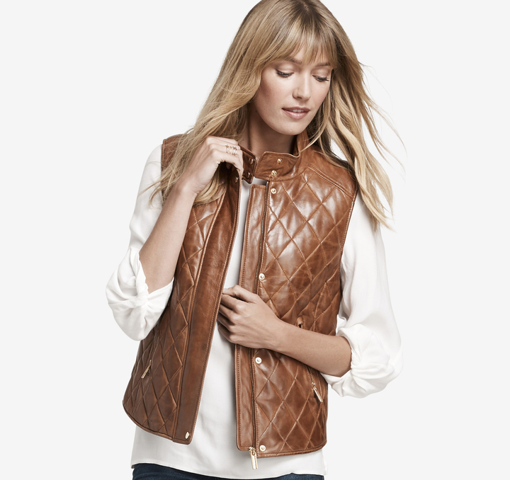 Johnston & Murphy Quilted Leather Vest