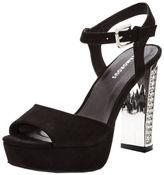 Glamorous Platform Embellished Heel Sandals in Black Size 6