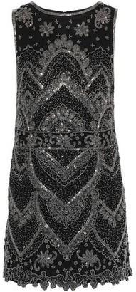 Alice + Olivia Clyde Bead-embellished Georgette Mini Dress