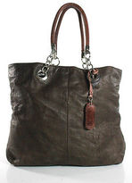 Cynthia Rowley Brown Embossed Leather Silver Tone Hardware Tote Handbag