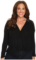 Christin Michaels Plus Size Cora Twist Front Top with Lace Detail