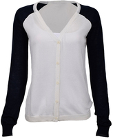 White & Navy Raglan Cardigan